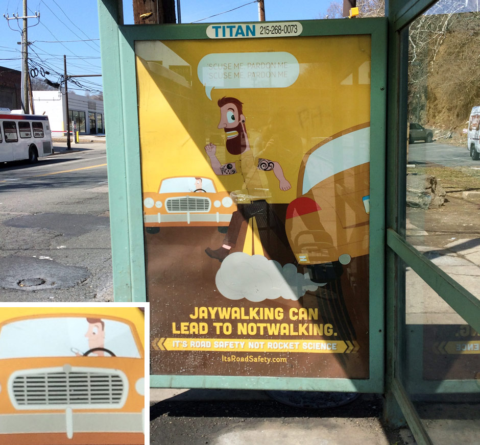 PSA on a bus stop spotted in East Falls
