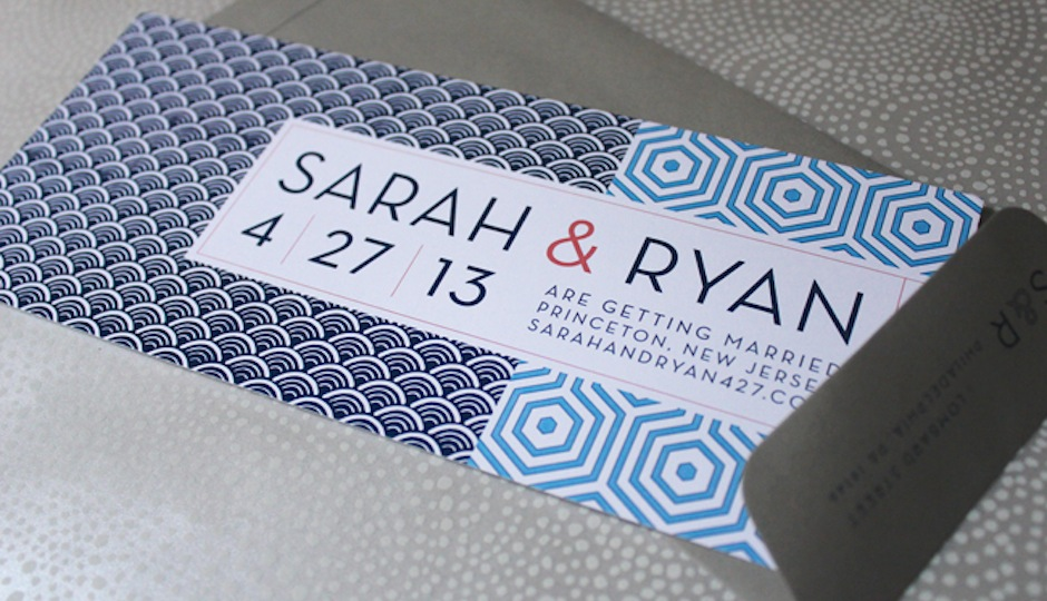 Save-the-date designed by Rittenhouse's Loveleigh Invitations.