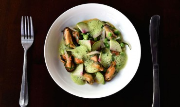 Poached Mussels with English Peas, Shaved Radish and Vinaigrette