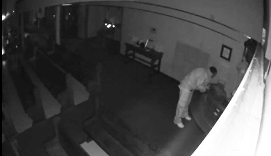 Warminster Police released surveillance footage of the poor box burglar.