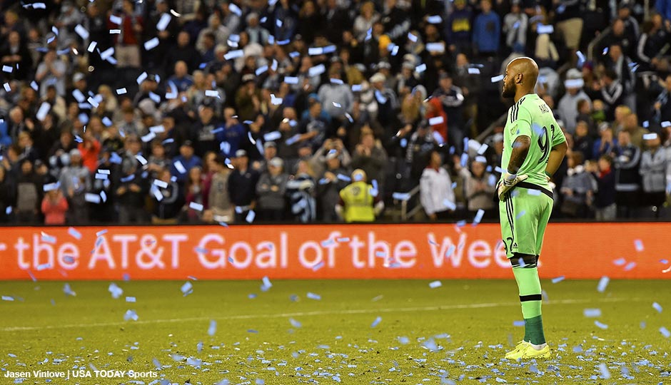 Apr 5, 2015; Kansas City, KS, USA; Confetti falls as Philadelphia Union goalkeeper Rais Mbolhi (92) reacts after allowing the game winning goal to Sporting KC forward Krisztian Nemeth (not pictured) during the second half at Sporting Park. Sporting KC defeats Philadelphia Union 3-2
