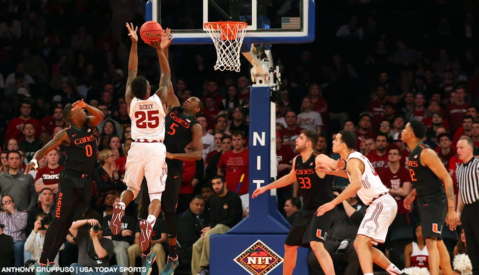 Miami Hurricanes guard Davon Reed (5) keeps Temple Owls guard Quenton DeCosey (25) from the net during the second half n the semifinals of the 2015 NIT college basketball tournament at Madison Square Garden. Miami Hurricanes won 60-57.