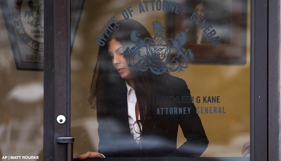 Attorney General Kathleen Kane arrives at a news conference Wednesday, Jan. 21, 2015, in Philadelphia.