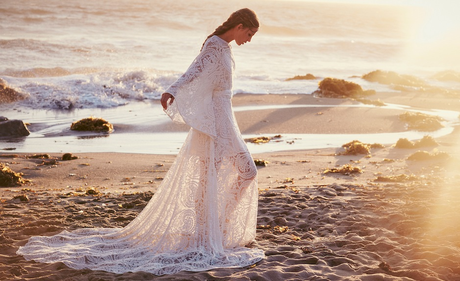 How gorgeous is this long-sleeve lace gown?