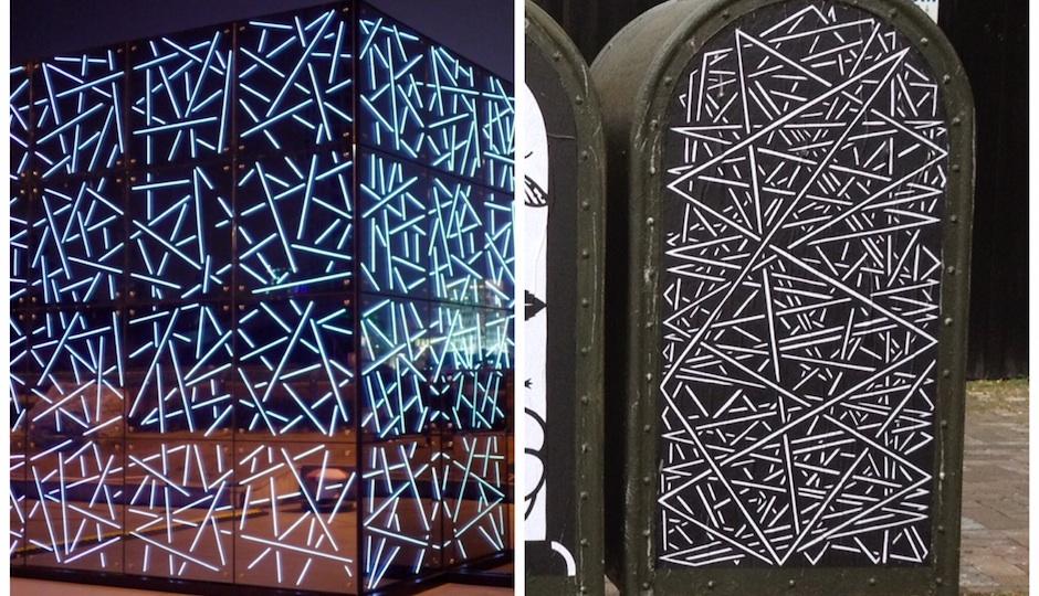 "Left: The ""Future Sensations"" pavilion; Right: The artist's work."
