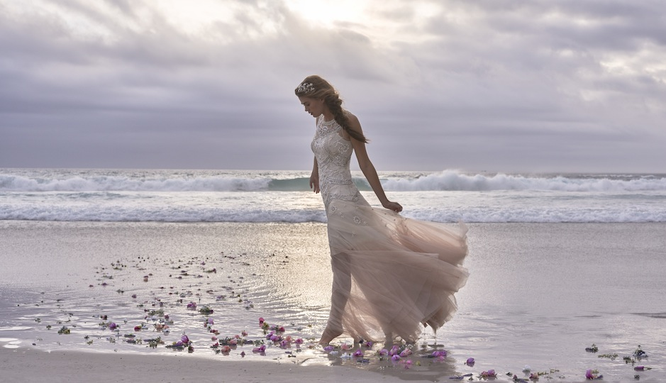 We love the ombre rose tulle on the Kate Gown.