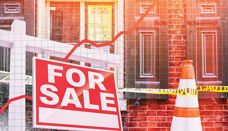 FOR SALE SIGN: ISTOCKPHOTO/THINKSTOCK; CONE AND BUILDING: CLAUDIA GAVIN ILLUSTRATION BY GLUEKIT