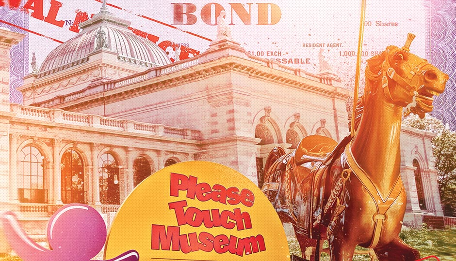Illustration by Gluekit. (Museum sign and horse: M. Edlow for Visit Philadelphia; building: Matt Rourke/Associated Press; bond: iStockphoto/Thinkstock)