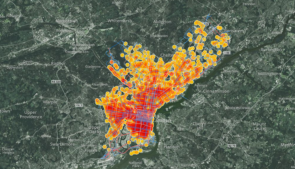 Screen shot of Azavea's map of bike crashes in Philadelphia from 2007 to 2012