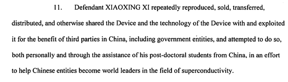 xiaoxing xi indictment