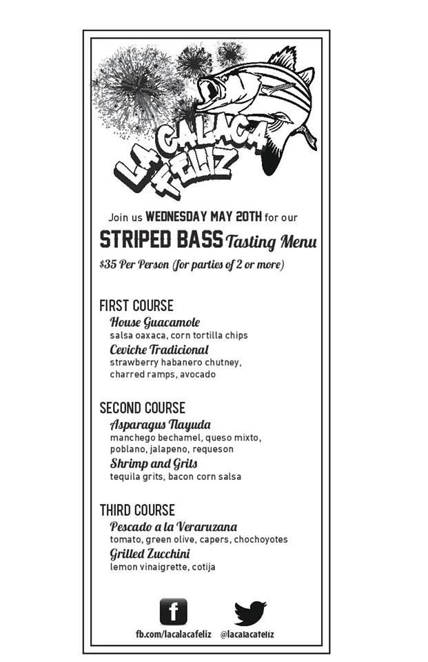 Striped bass menu