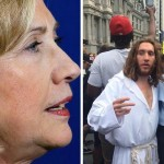 Hillary Clinton, left; Philly Jesus and State Sen. Anthony Hardy Williams.