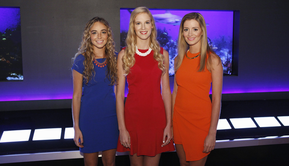 Beatrice Fischel-Bock (left), Madeline Fraser, and Elizabeth Grover about to enter the Shark Tank.  (ABC/Kelsey McNeal)