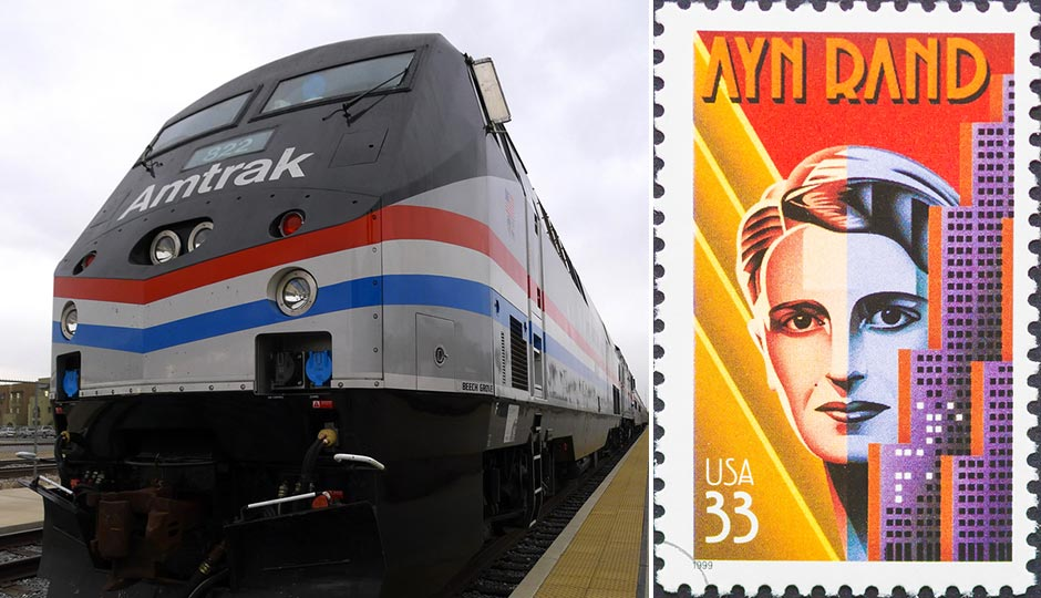 Amtrak train | Richard Thornton / Shutterstock.com. Ayn Rand stamp | catwalker / Shutterstock.com
