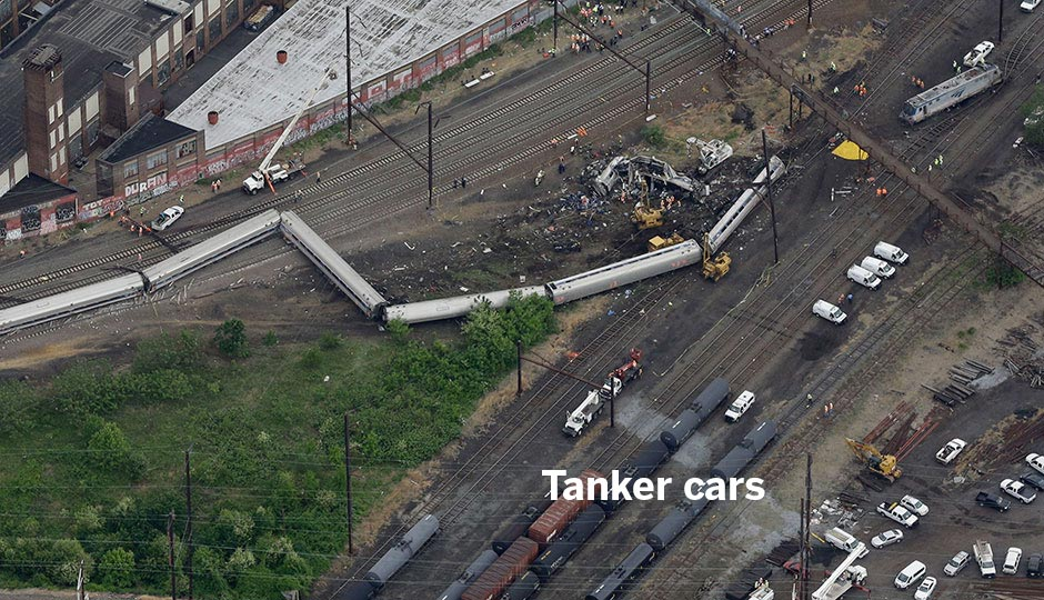 By the morning of May 13th, the tankers appeared to have been moved. Associated Press photo