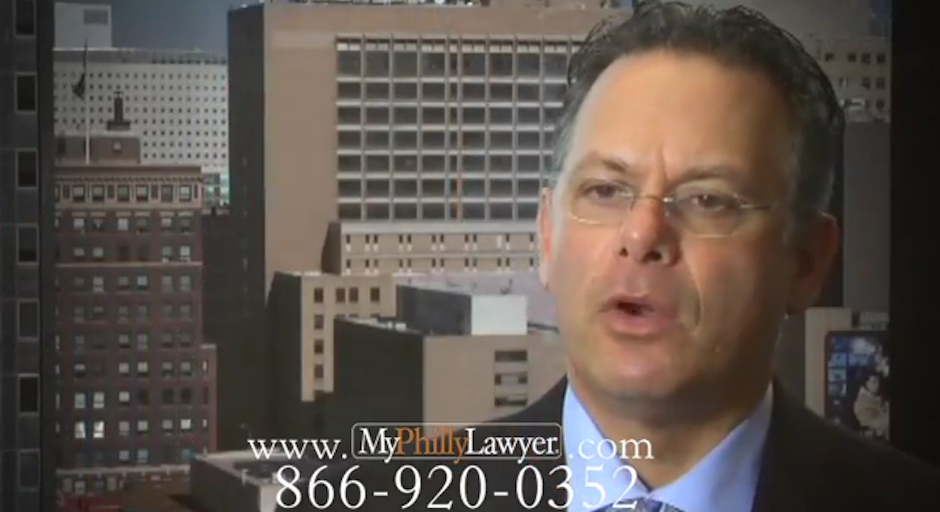 Lawyer Dean Weitzman in a My Philly Lawyer TV commercial