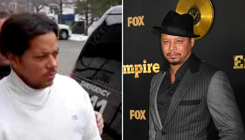 """Left: Antonio Howard, depicted in a 2011 Times Herald video, being taken into police custody following charges that he threatened police with his large dog. He later pleaded guilty to the charges. Right: Terrence Howard at the FOX TV """"Empire"""" Premiere Event on January 6, 2014 in Los Angeles, California   Joe Seer / Shutterstock.com"""