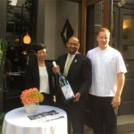 Eli Kulp with Ellen Yin and Mayor Michael Nutter celebrating Kulp being named Best New Chef by Food & Wine.