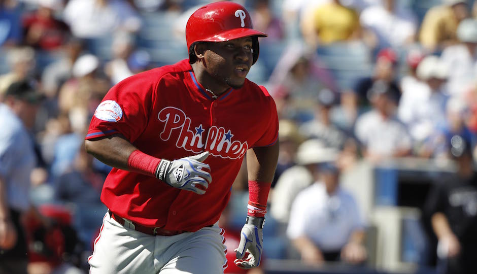 Mar 4, 2015; Tampa, FL, USA; Philadelphia Phillies third baseman Maikel Franco (7) singled during the fourth inning against the New York Yankees at a spring training game at George M. Steinbrenner Field. Mandatory Credit: Kim Klement-USA TODAY Sports