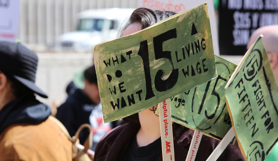 Protesting the minimum wage. (Shutterstock.)