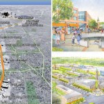 Renderings of (clockwise from left) the Roosevelt Boulevard Subway Extension viewed from the Northeast and two views of a proposed Northeast town center at Cottman Avenue Station, all circa the Philadelpha City Planning Commission's 2003 Roosevelt Boulevard Corridor Study.