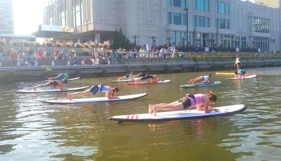 Sup Yoga at Spruce Street Harbor Park 2014 | Photo via Facebook