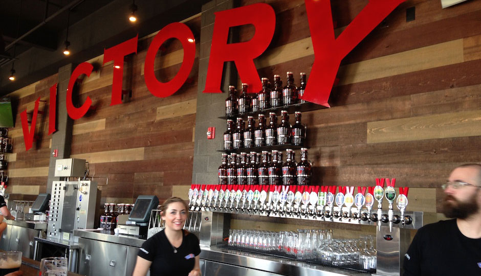 A look at the extensive tap selection at Victory's Kennett Square brewpub.