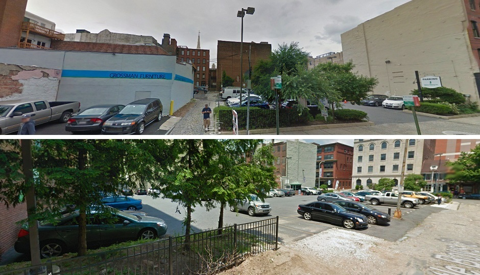 Top: View of site from Arch St; Bottom: View of site from south end of Little Boys Court| Images via Google Street View