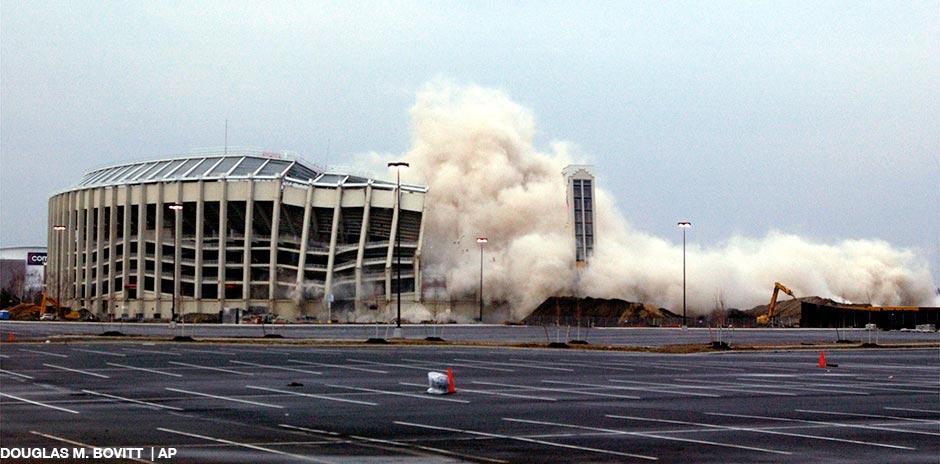 Philadelphia's Veterans Stadium implodes early Sunday morning, March 21, 2004.