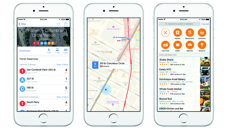 Screen shots of the new Apple Transit, set to debut soon in Philly.