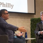 Stephen Starr (left) being interviewed by Philadelphia magazine editor Tom McGrath at the BizPhilly launch party.