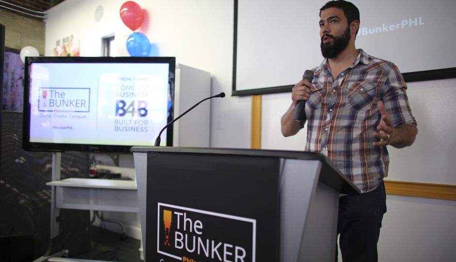 Dan Tobon, a veteran entrepreneur at the grand opening of The Bunker. (Comcast Photo/ Joseph Kaczmarek)
