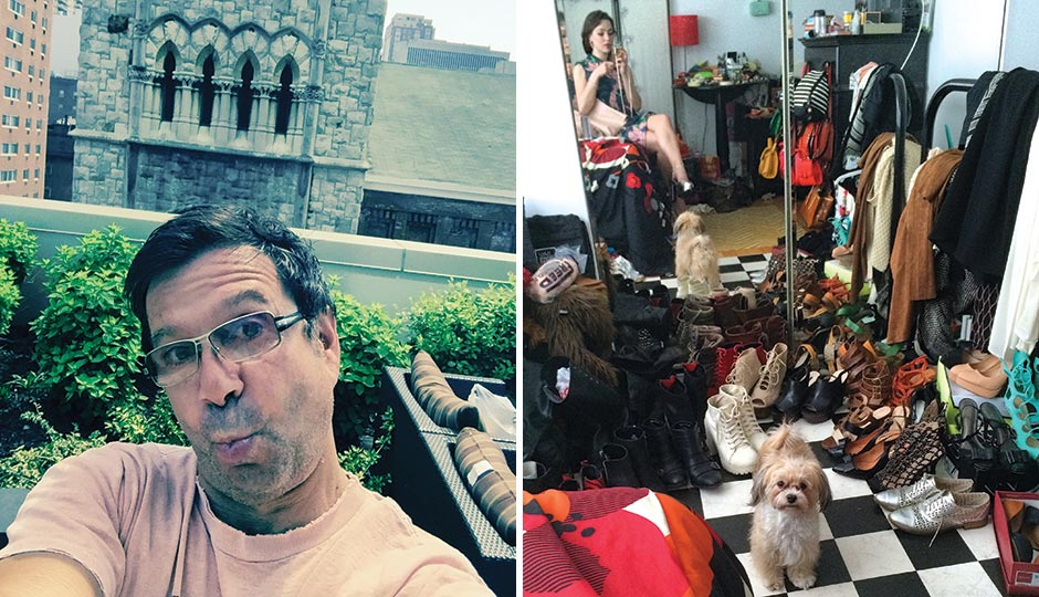 "Left: John Bolaris in his Center City apartment overlooking the Lutheran Church of the Holy Communion, May 1, 2015. ""God is on my side."" Right: Pennsylvania Ballet dancer Kelsey Ivana Hellebuyck with her Havanese pup at home, choosing shoes to wear for a night out, March 24, 2015. ""#photoBOMBbyCOCO"""