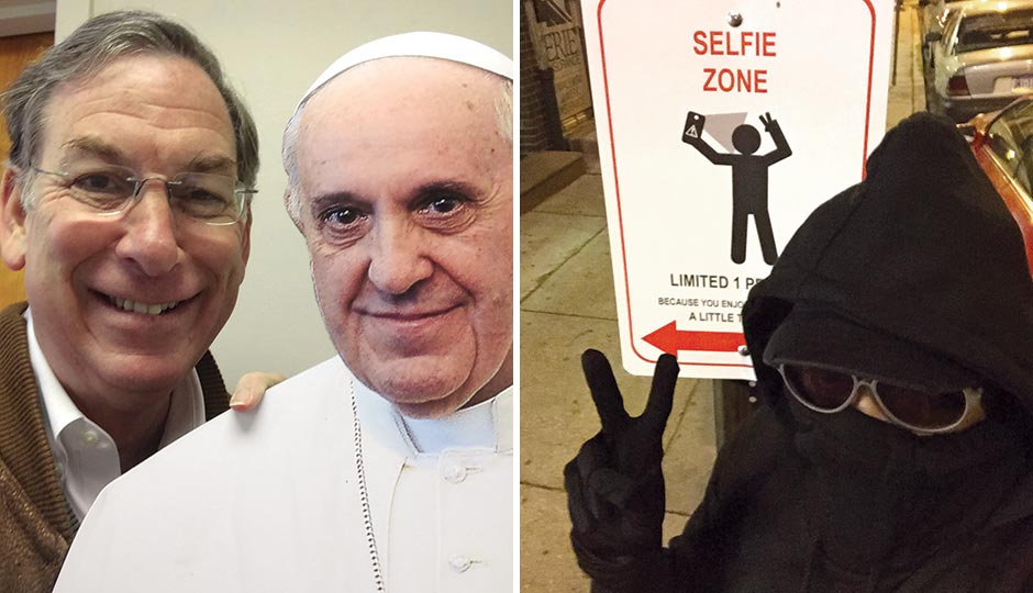 Left: Politician/documentarian Sam Katz with Pope Francis (okay, a cardboard cutout), April 24, 2015. Right: Street artist Kid Hazo with a sign he designed at 5th and Bainbridge streets, May 6, 2015.