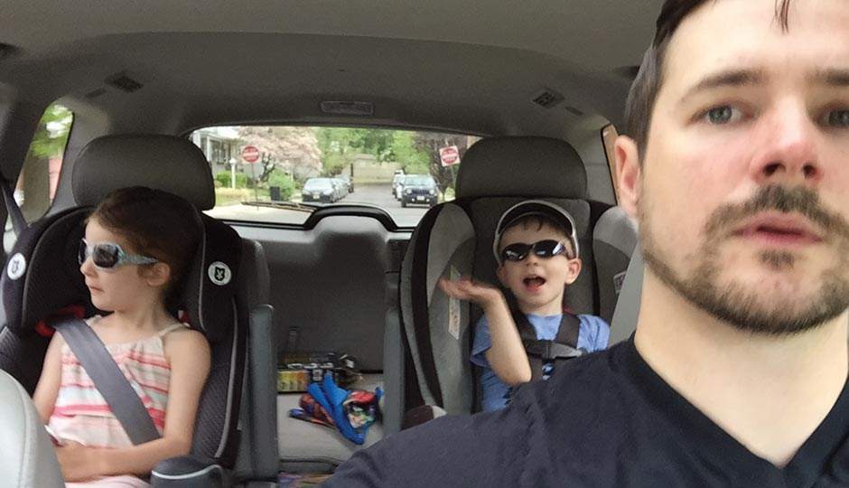 Laurel owner/chef Nick Elmi driving with daughter Grace and son Wes, May 7, 2015.