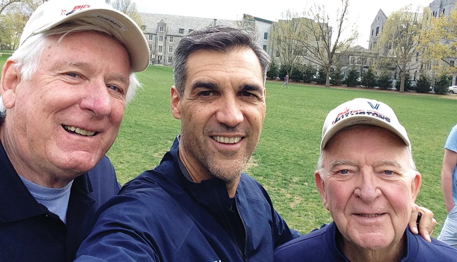 Villanova basketball coach Jay Wright with faculty members Jack Doody and Dan Regan, May 1, 2015.