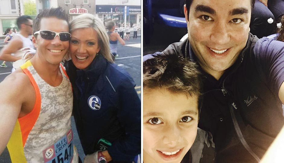 Left: 6 ABC's Adam Joseph and Cecily Tynan at the Broad Street Run, May 3, 2015. Right: Chef/restaurateur Jose Garces with his son Andres, April 3, 2015.