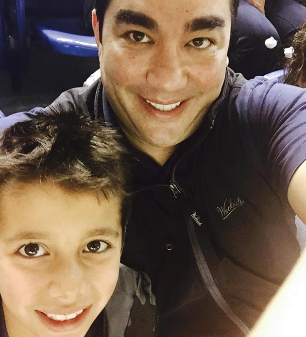 Chef/restaurateur Jose Garces with his son Andres, April 3, 2015.