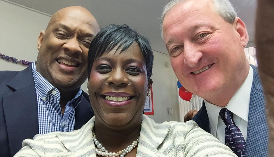 Democratic mayoral nominee Jim Kenney with state reps Dwight Evans and Cherelle Parker, May 2, 2015.