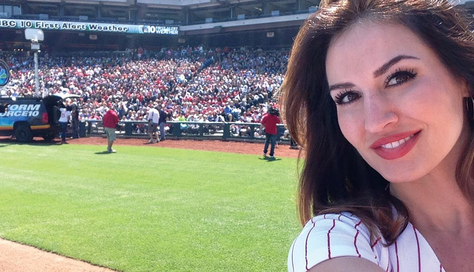 NBC 10 meteorologist Sheena Parveen at a Phillies game, May 14, 2015.