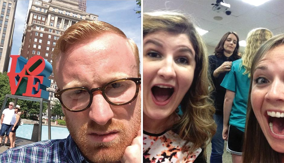 "Left: Reader Selfie: Ryan Birchmeier ""alone at LOVE Park again,"" May 8, 2015. Right: Reader Selfie: Lauren Sammartino and Robyn Cartlidge with Tina Fey (sort of) as she autographs a fan t-shirt at the Upper Darby Performing Arts Center, August 16, 2014."