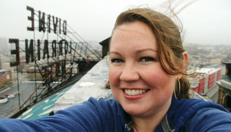 Reader Selfie: Juliana Chapman on the roof of the Divine Lorraine Hotel, her favorite building in Philadelphia, January 11, 2014.