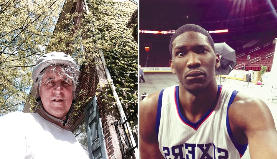 "Left: Center City District president/CEO Paul Levy at 3rd and Pine streets, May 2, 2015. Right: Joel Embiid at the Sixers' media day, September 29, 2014. ""I'm Rihanna's spirit animal."""