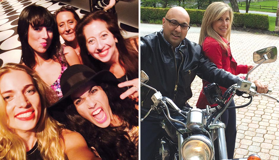 Left: Nicole Miller's Mary Dougherty (top right of pic). Right: Al Jazeera America's Ali Velshi and his wife, hedge fund manager Lori Wachs.