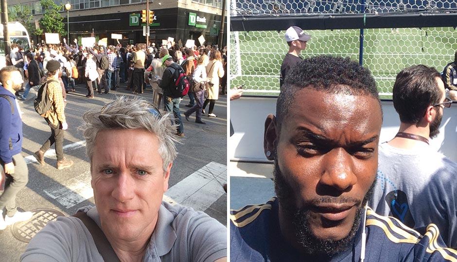 Left: Andrew Auwerda of Philadelphia Distilling. Right: Philadelphia Union midfielder Maurice Edu.