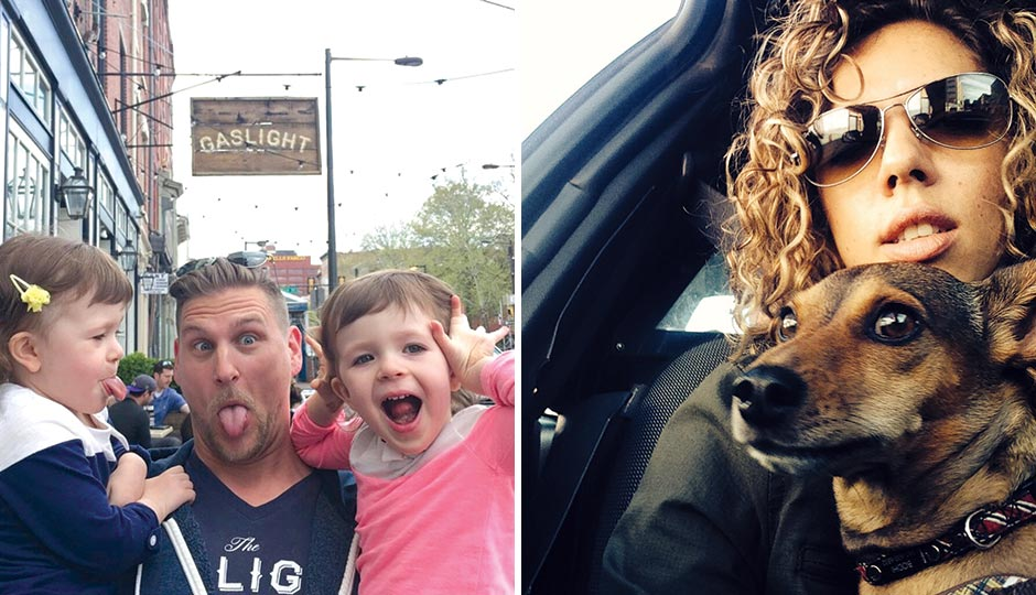Left: Jason Cichonski, the Gaslight and Ela, with his best friend's nieces Ella and Addison. Right: Nicole Marquis, HipCityVeg.