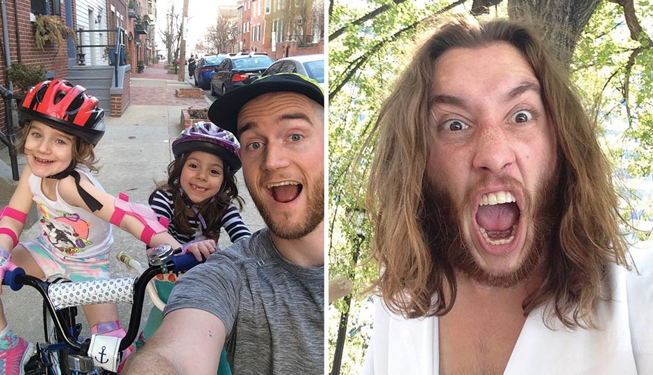 Left: Jon Lyons, Run215, with daughter Eden (left) and her friend Jackie. Right: Philly Jesus (Michael Grant).