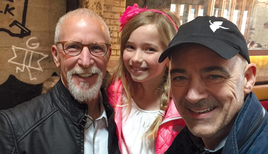 Pat Croce and Todd Carmichael with Croce's granddaughter Pascale at La Colombe in Fishtown, April 23, 2015.