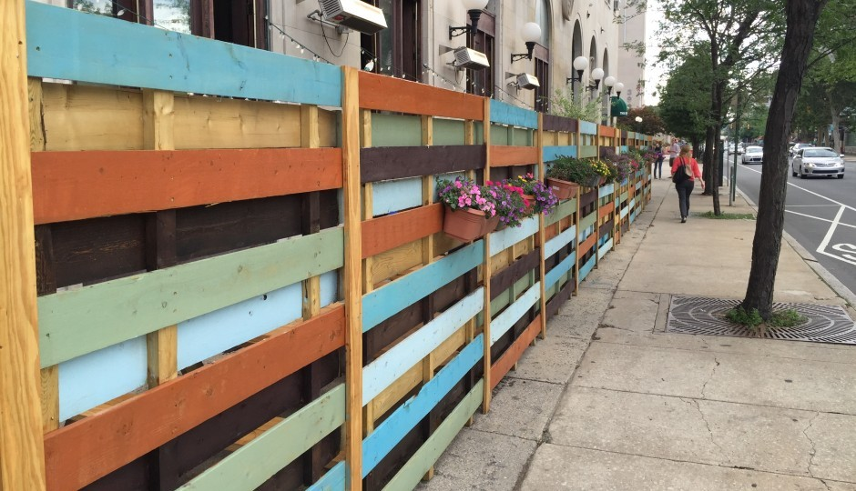 "The ""barrier"" surrounding the William Street Common sidewalk cafe at 39th and Chestnut in University City. 