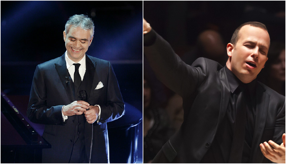 Photo of Andrea Bocelli (left) from Andrea Raffin / Shutterstock.com